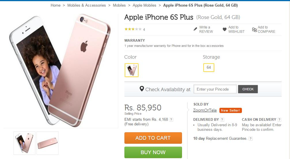 Apple Iphone 6s Plus Rose Gold 64gb Available On Flipkart For Rs