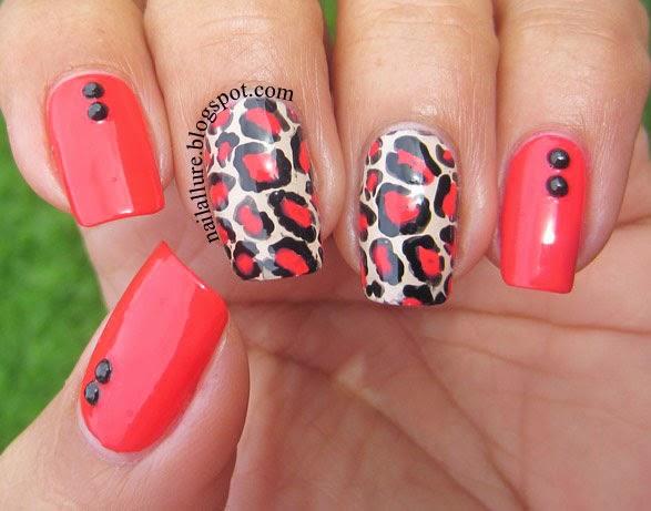 Coral Leopard Print Manicure