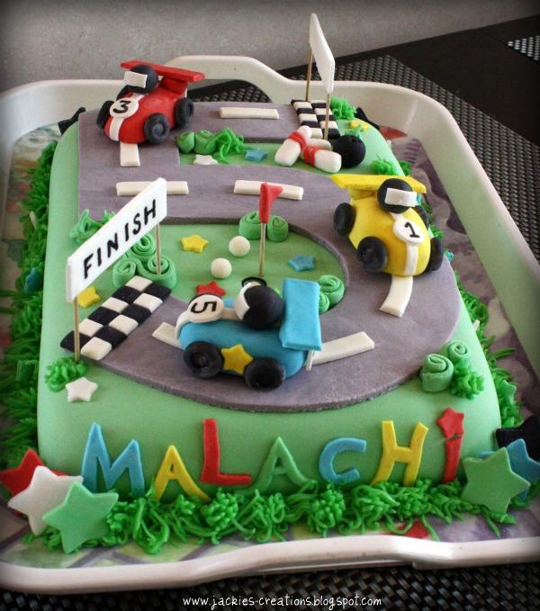 Jackies Creations Race track birthday cake