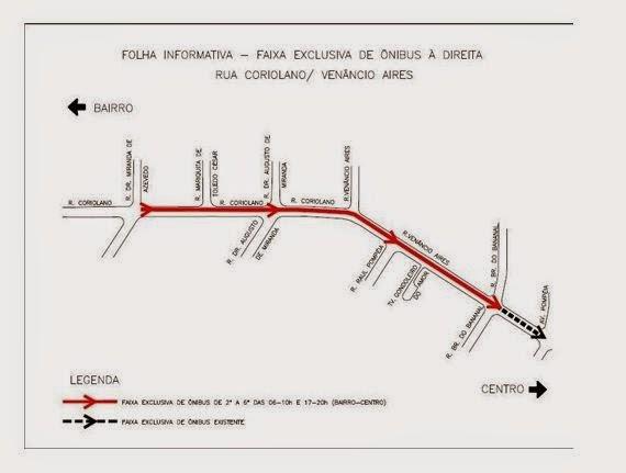 Faixa Exclusiva de Ônibus - Rua Coriolano e Rua Venâncio Aires