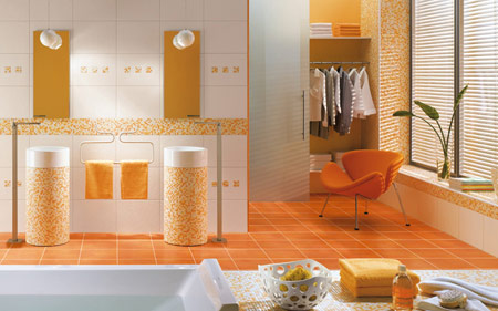9 cuartos de ba o naranja ideas para decorar dise ar y for Accesorios bano color naranja