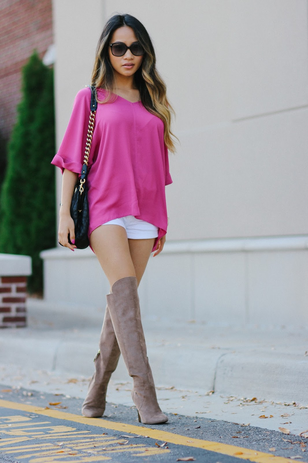 Marc jacobs stam bag, forever21 taupe knee high boots, knee high boots, taupe knee high boots, fall outfit, vietnamese fashion blogger, thigh high boots, express shorts,