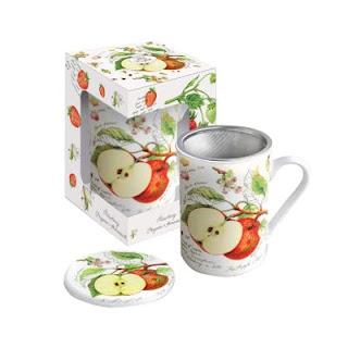 Poza cu cana din portelan cu capac si infuzor ideala pentru ceai