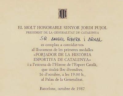 Concesión a Ángel Ribera de la Medalla de Forjador de la Història Esportiva de Catalunya