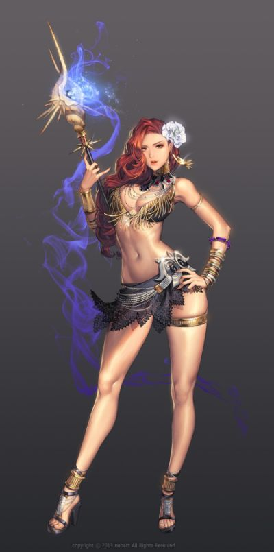 Gwon Yun Jeong lovecacao ilustrações fantasia mulheres lindas sensuais Magia
