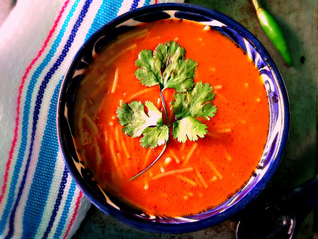 Mexican Fideo Soup w/ Four Chiles - lacocinadeleslie.com