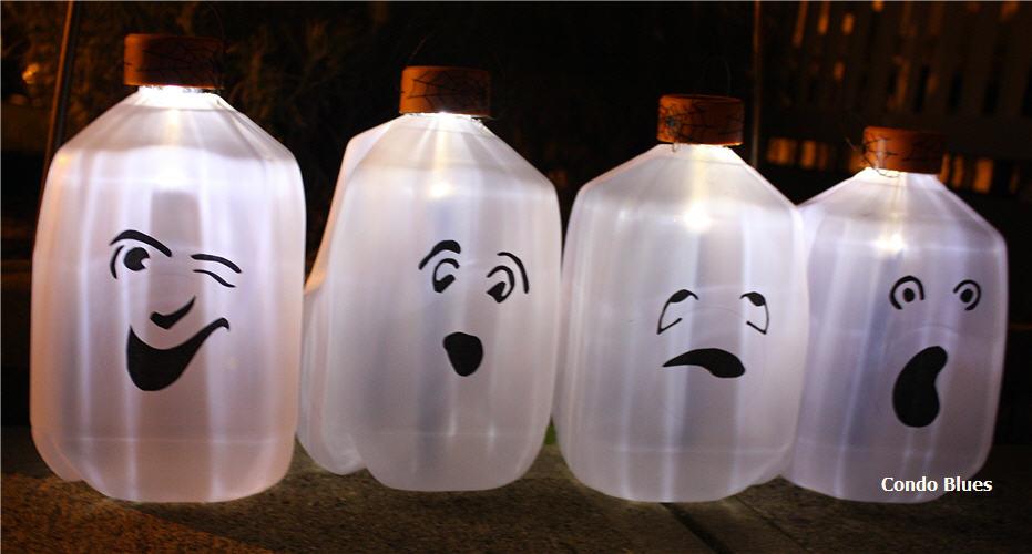 make solar milk jug ghosts for halloween