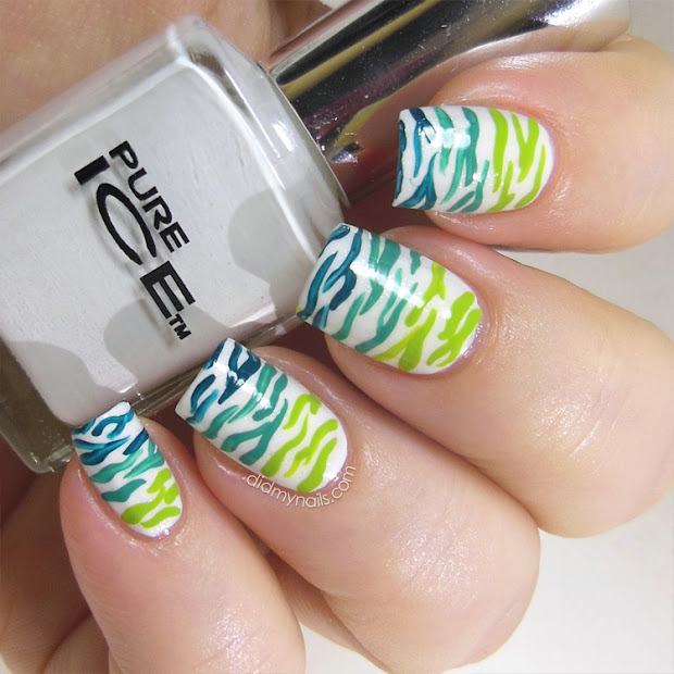 nails tropical zebra stripes