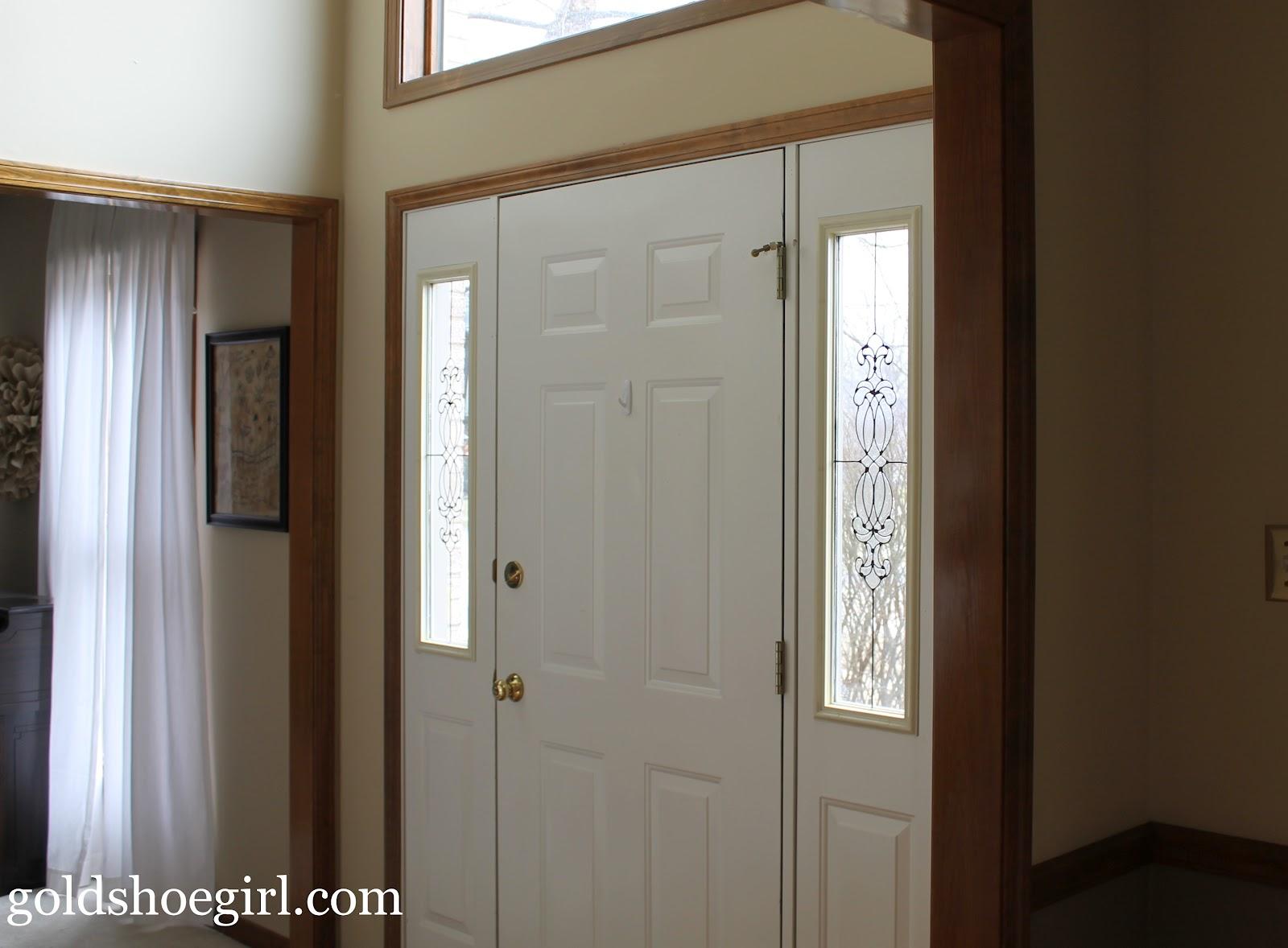 Gold shoe girl quick easy front door upgrade for Front door with sidelights