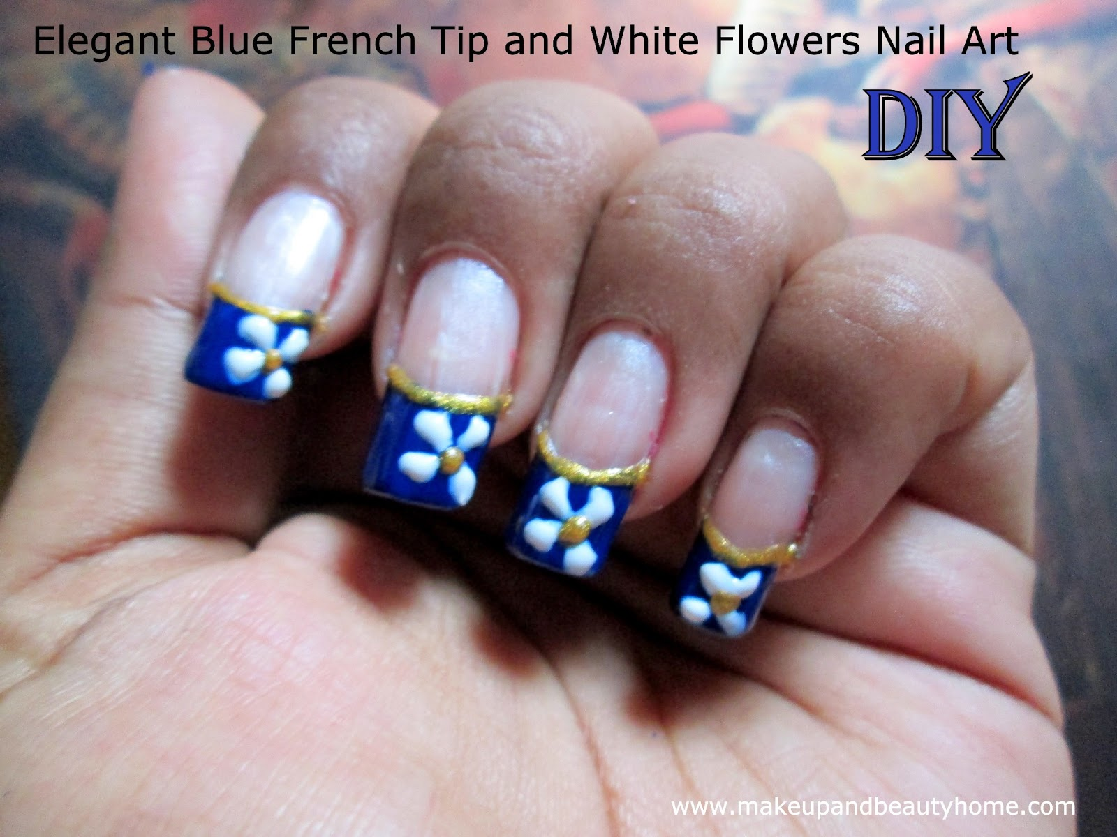 Elegant Blue French Tip and White Flowers Nail Art ~ DIY Tutorial ...