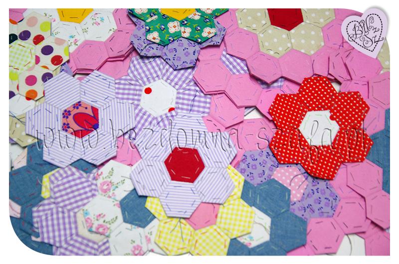 hexagon, heksagon, patchwork, narzuta sześciokąty