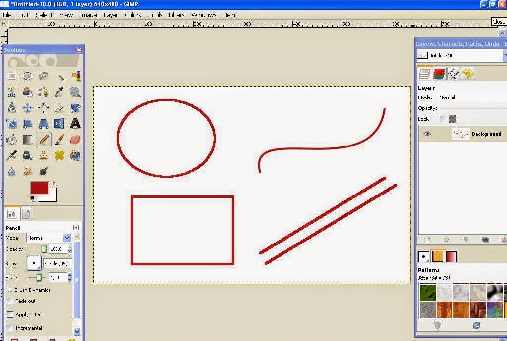 Membuat Garis Lurus, Bebas, Lingkaran dan Segi Empat Di GIMP 10