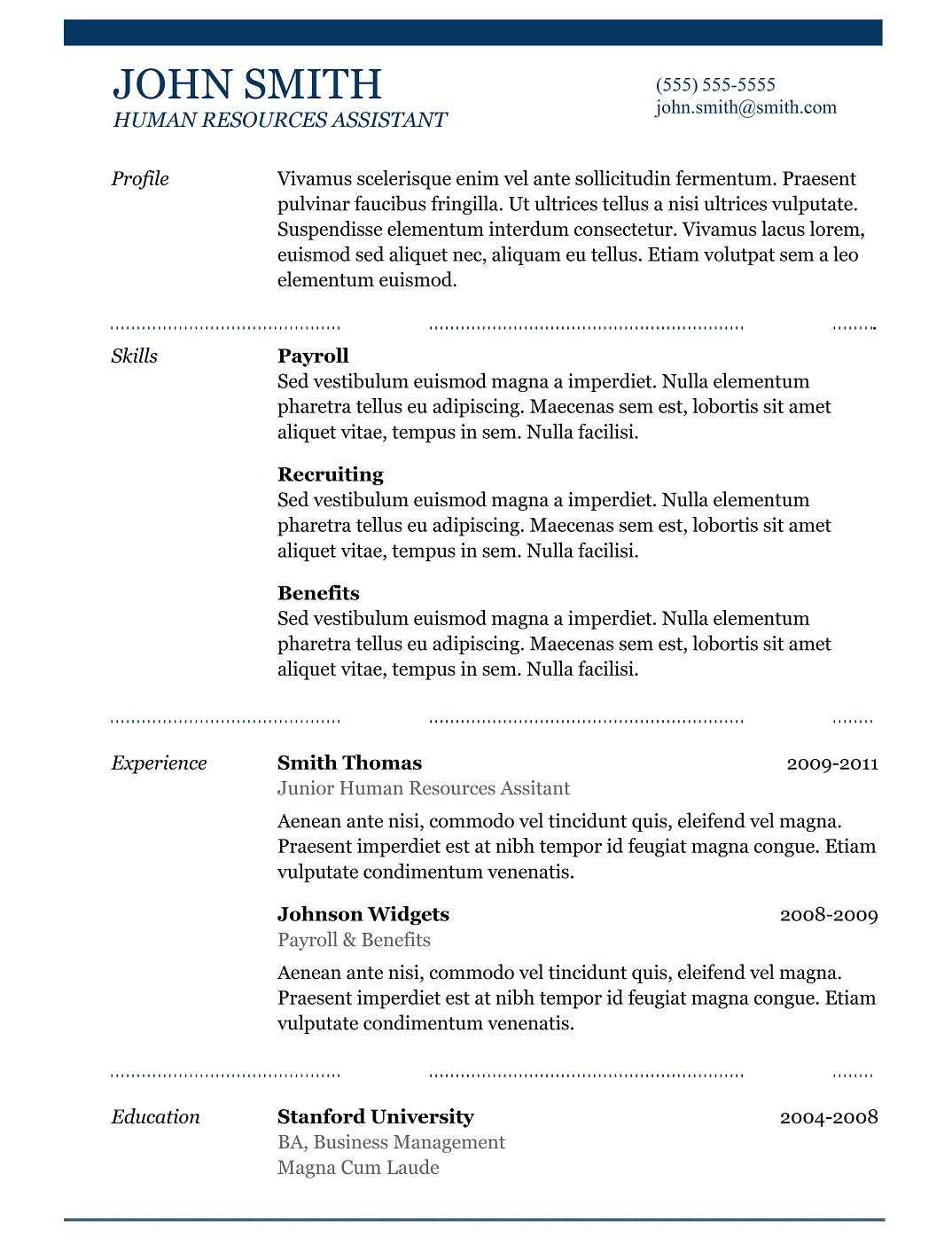 Best Free Resume Templates Download For Freshers  Best