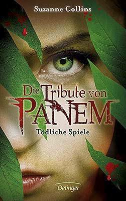 Nahaufnahme der linken Seite von Katniss' Gesicht, im Vordergrund blutbefleckte Blätter