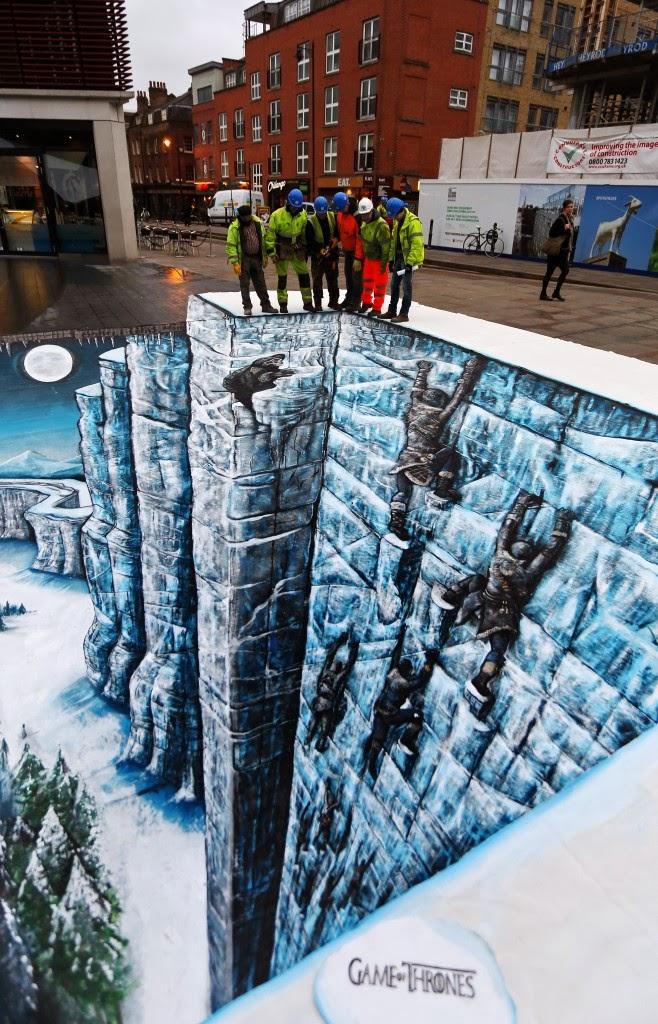 Obreros en lo alto del Muro del mural 3D de Juego de Tronos - Juego de Tronos en los siete reinos