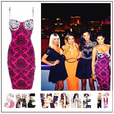 The Only Way is Vegas, Jessica Wright, Celeb Boutique, Hot Pink, White, Black, All Over Print, Knee Length, Bodycon Pencil Dress, Towie, The Only Way Is Essex,