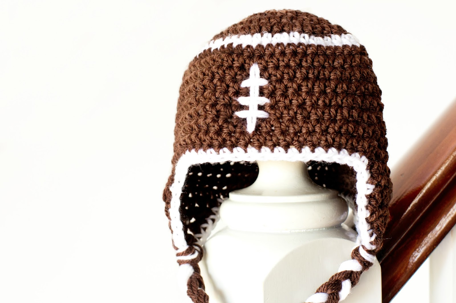Baby football crochet hat craftbnb hopeful honey craft crochet createbaby football earflap hat bankloansurffo Choice Image