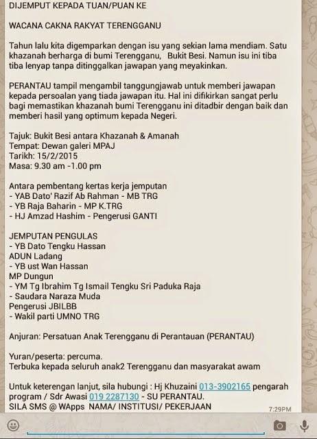BUKIT BESI Lagi Fitnah Terhadap YAB MB Terengganu Melalui Persatuan Anak Pereantau