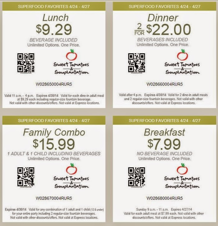 Sweet Tomatoes Coupons September 2016