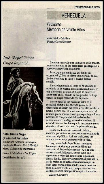 PRÓSPERO MEMORIAS DE VEINTE AÑOS, de Néstor Caballero, dirección Carlos Giménez, 1992