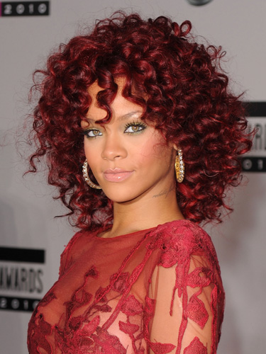 rihanna 2011 hair. RIHANNA RED CURLY HAIR 2011