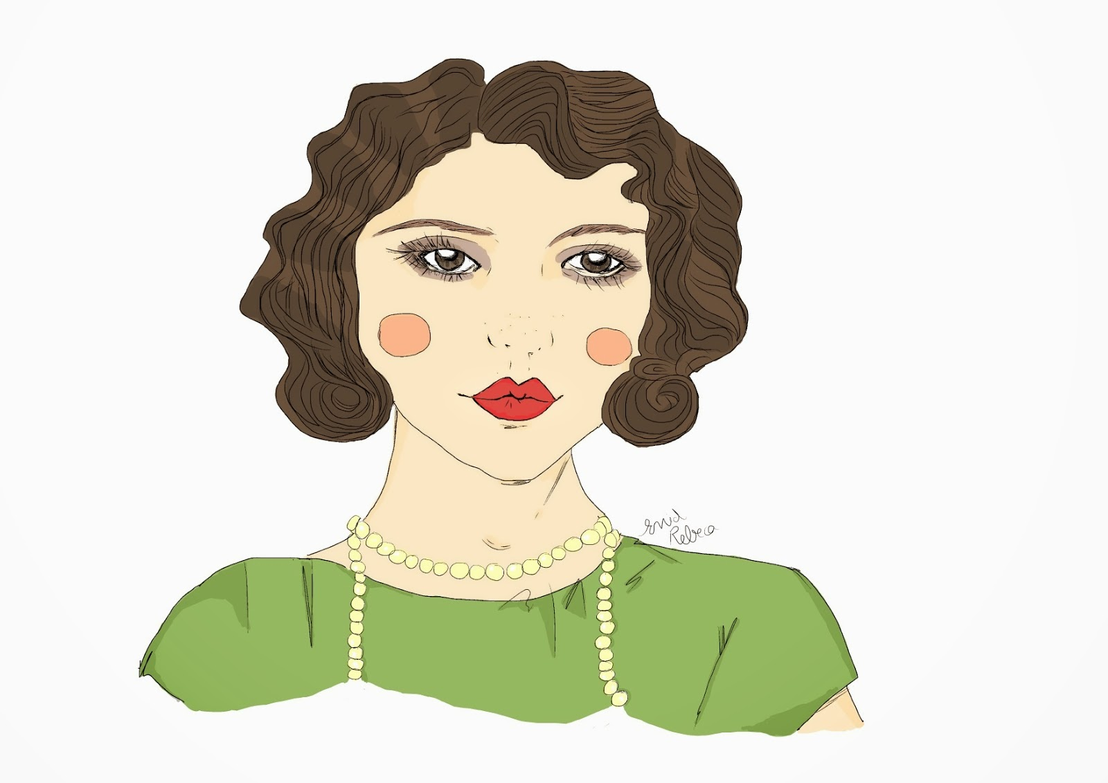 olas waves hairstyle 1920 20s años 20 ilustración drawing painting digital vintage retro