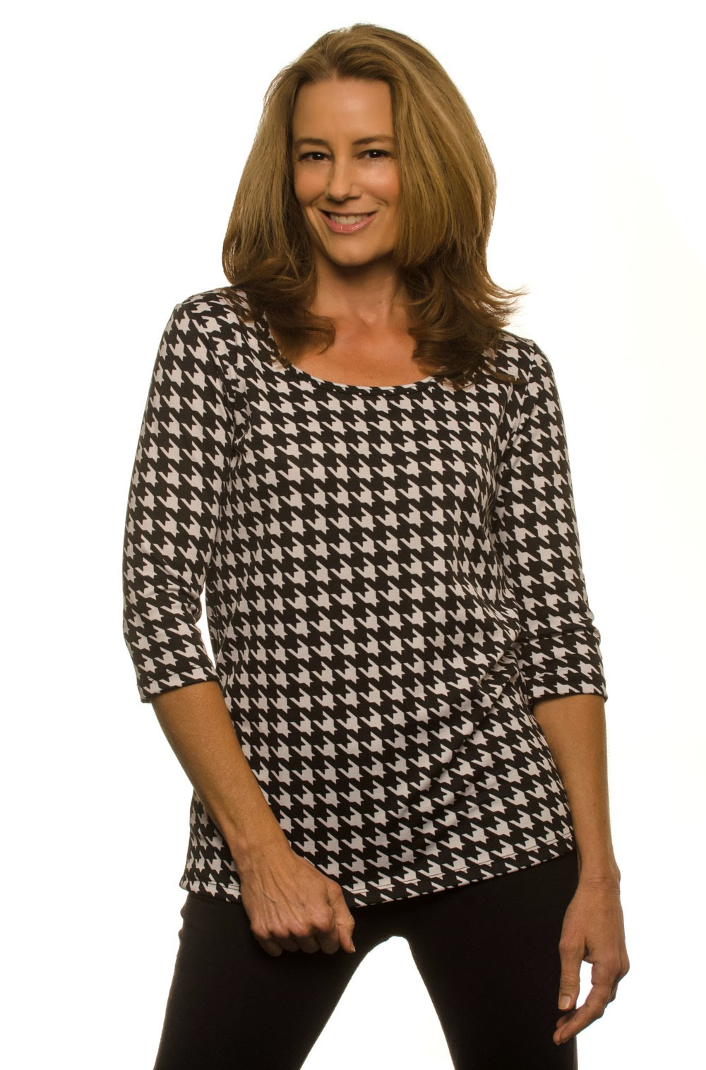Houndstooth top for women over 40