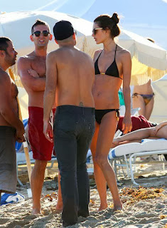 English: Alessandra Ambrosio Black Bikini Tattoo Miami Florida USA
