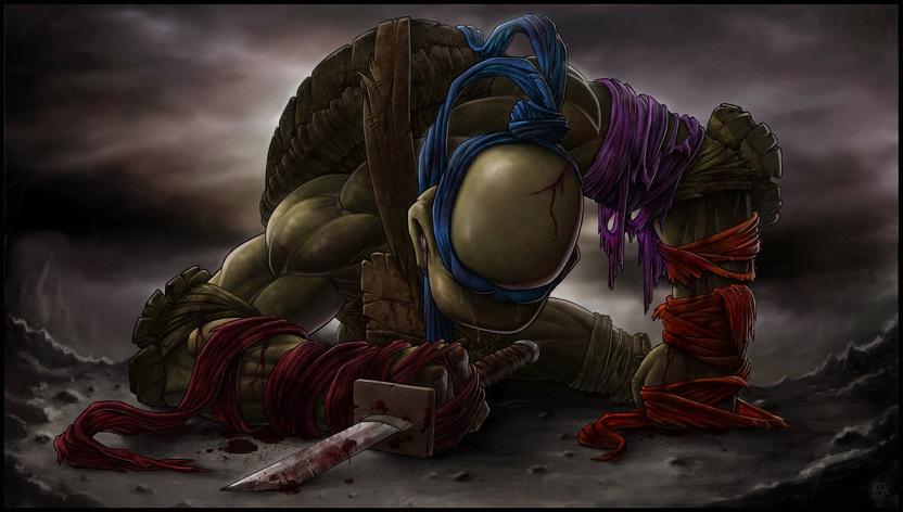 Ninja turtles fan art set showing a sole surviving turtle is gut