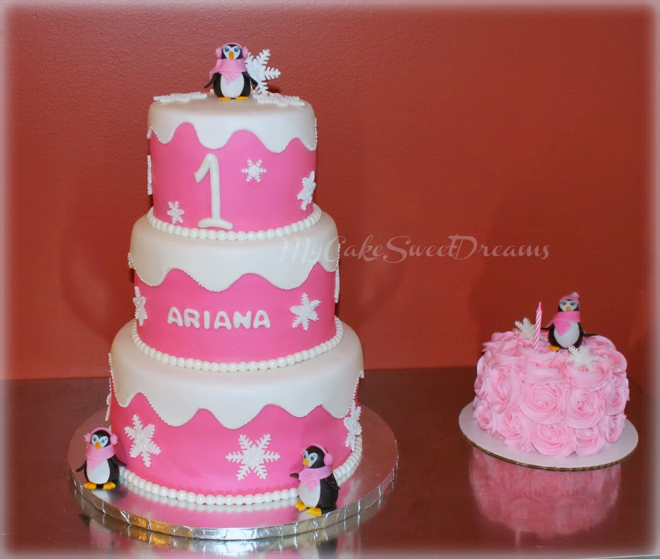 My Cake Sweet Dreams Snowflake 1st Birthday Cake