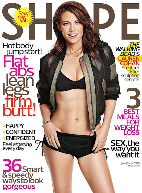 Actress, @ Lauren Cohan - Shape magazine January/February 2016