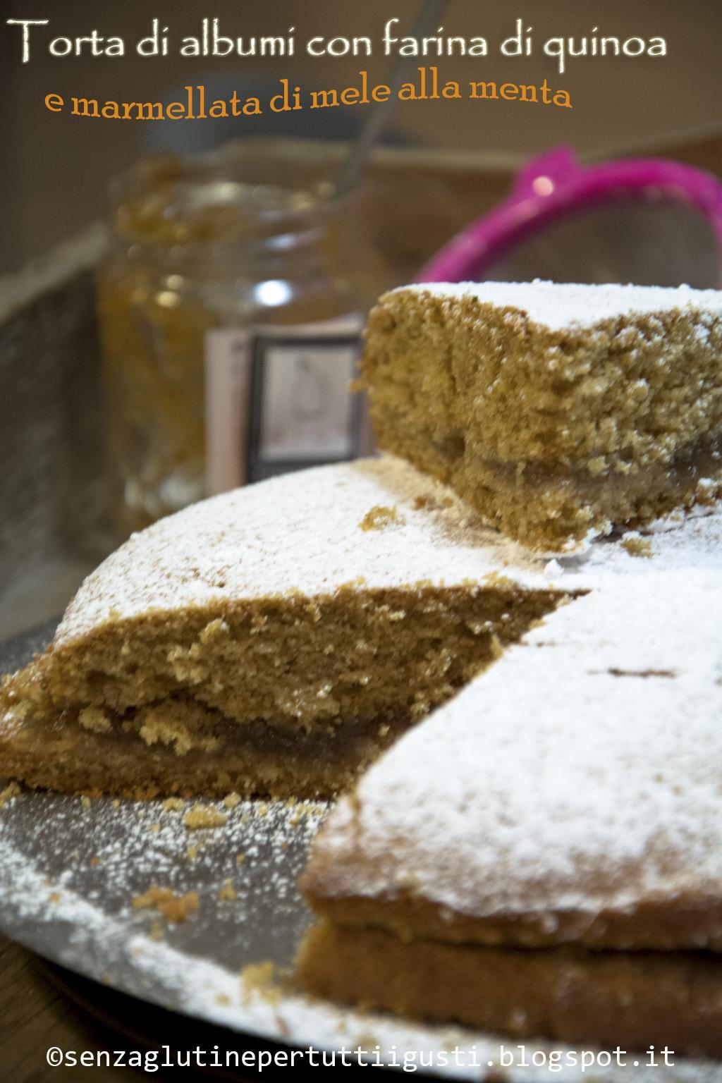 torta di albumi con farina di quinoa e marmellata di mele alla menta (con bimby)