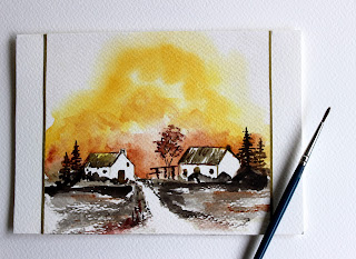 trees,scenery,houses,brush, watercolour