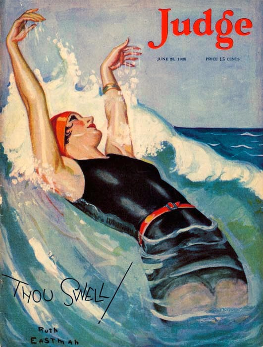 vintage illustration by Ruth Eastman of a woman playing in the waves