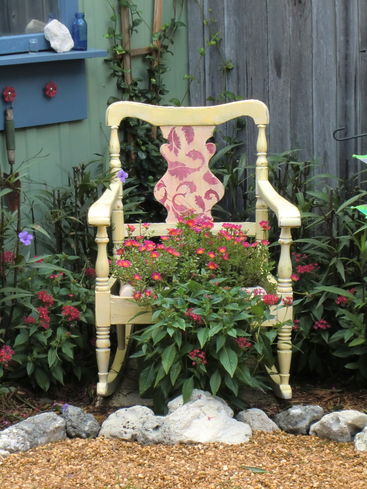 After Rocking Chair Planter & Shabby Glam: Rocking Chair Planter - Curbside Find!
