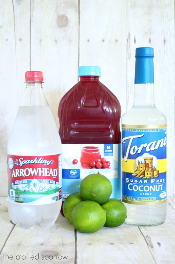 cranberry coconut lime sparkling drink made with