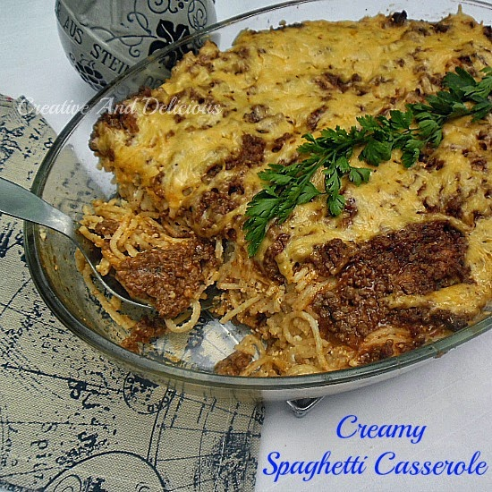 Creamy Spaghetti Casserole ~ A Simple, easy, yet delicious casserole, which is very filling ! #Casseroles #PastaDish