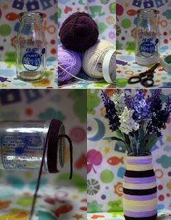 Floreros con Botellas y Lana Reciclada