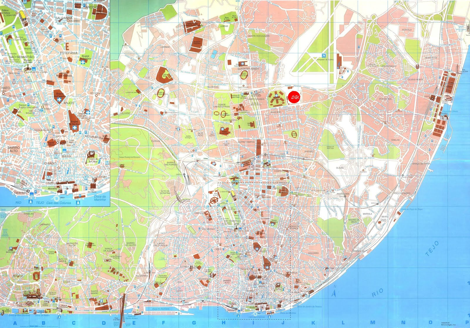 February 2012 Free Printable Maps – Lisbon Tourist Map Printable