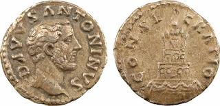 Denario d'argento del 161 d.C. con la pira funeraria