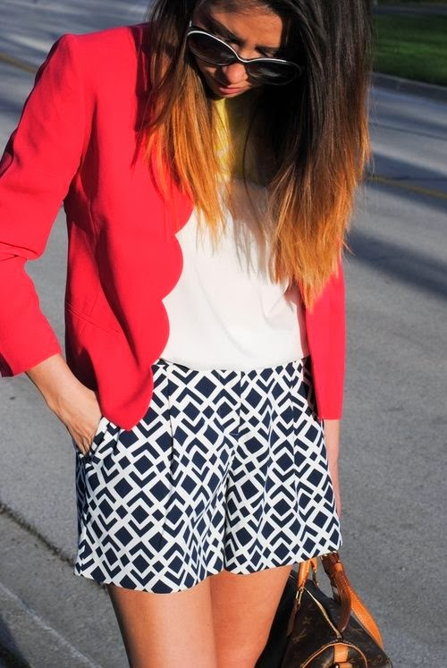 red coat mini skirt with white tee