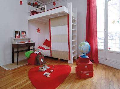 Dormitorio para Niños de color Rojo y Blanco