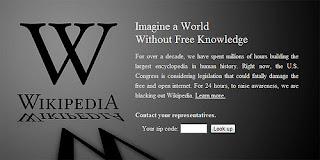 wikipedia blackout SOPA and PIPA