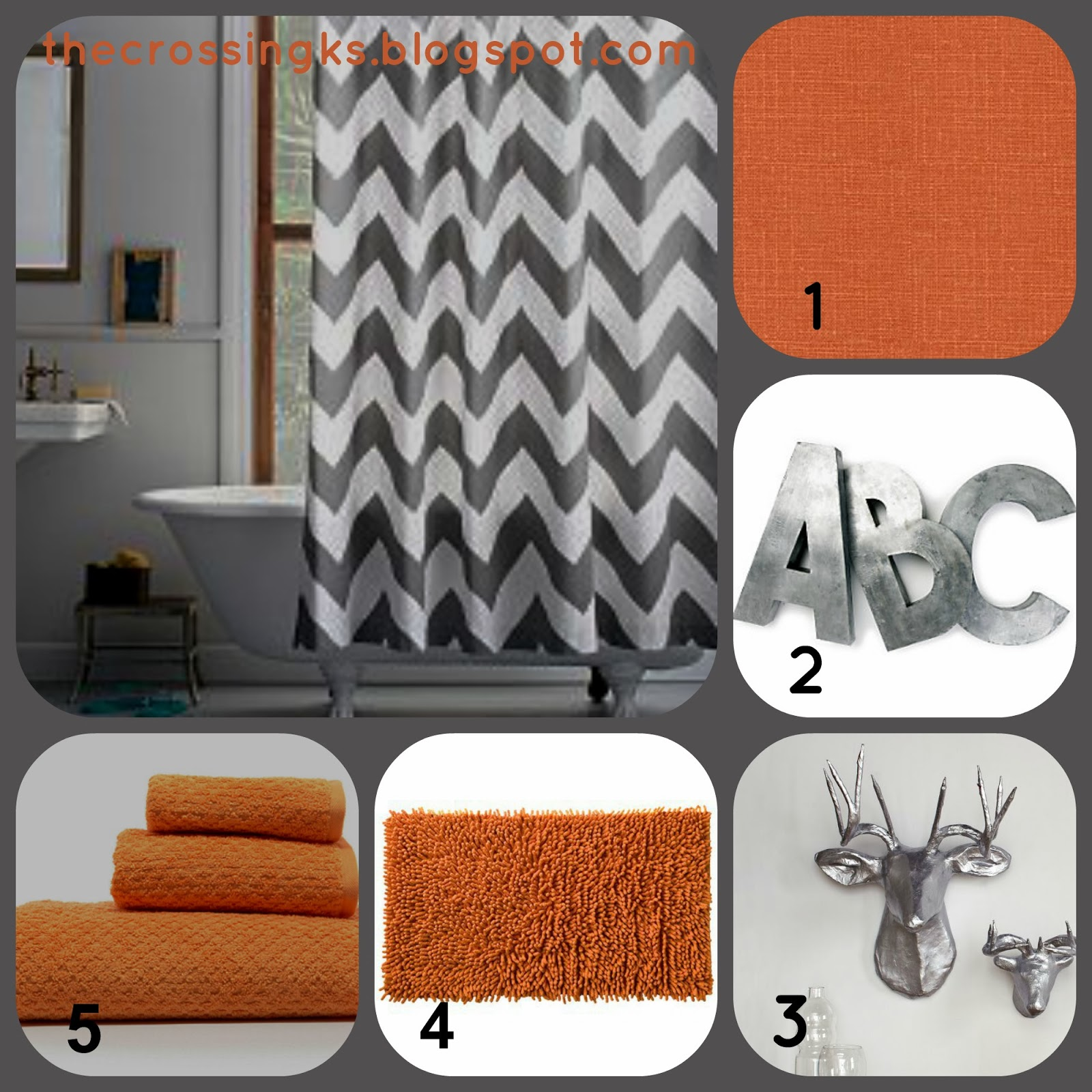The crossing master bathroom inspiration for Orange and grey bathroom accessories