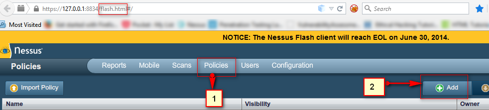 1 in nessus go to policies and click on add