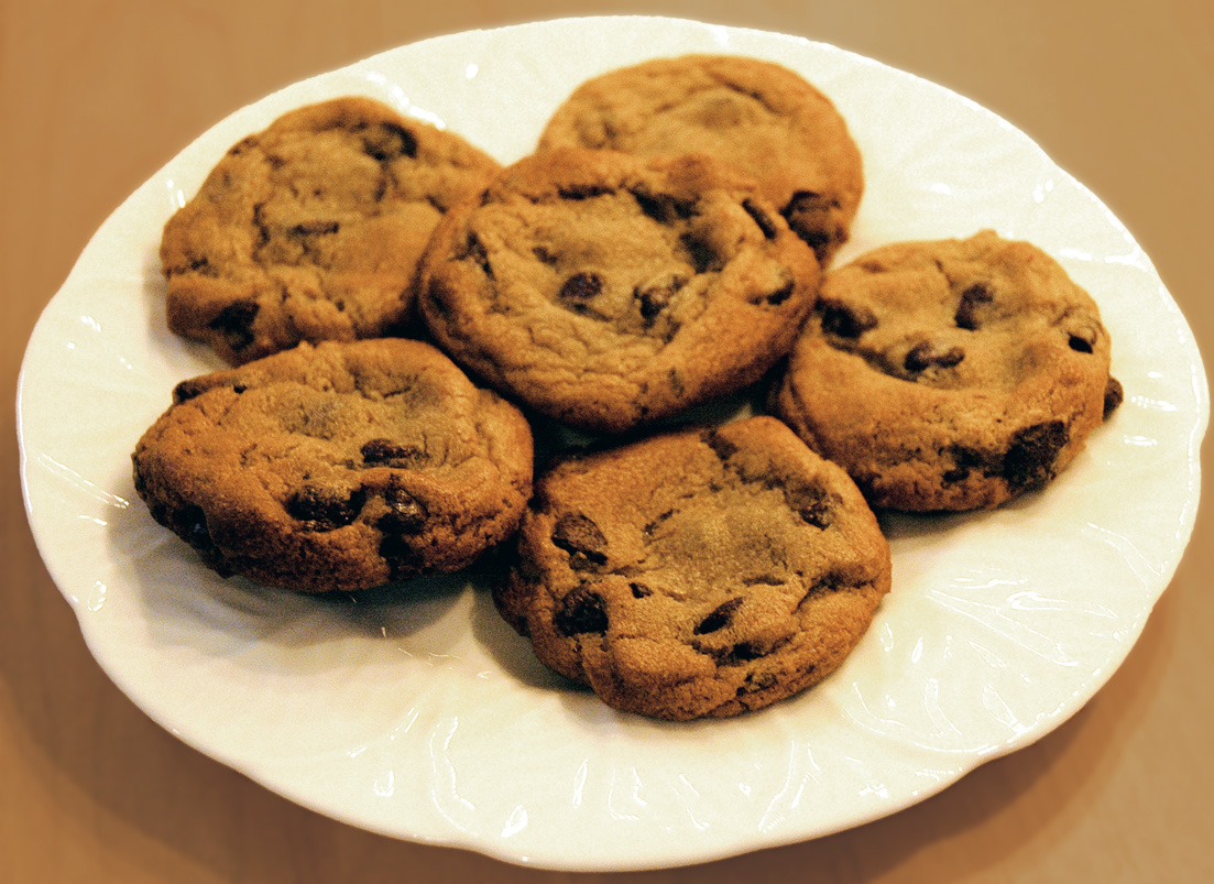 chocolate chip cookies 2 cups semi-sweet chocolate baking chips (contains milk) 1 cup butter or margarine, softened 3/4 cup sugar 3/4 cup brown sugar, packed 2 large eggs.