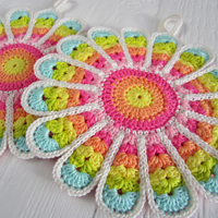 Crochet Pattern Flower Potholder