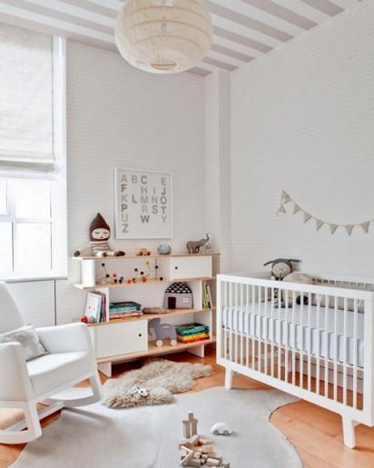 decorar habitacion infantil moderna vintage blanco y guirnalda