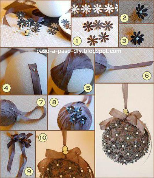 como hacer una esfera para decoracion navideña