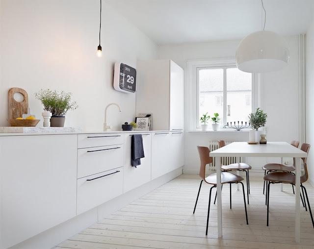 cocina diseño nordico blanca